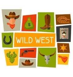Wild west background with cowboy objects and vector image