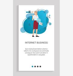 woman network communication web business vector image