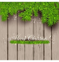 Wooden texture and christmas fir tree vector