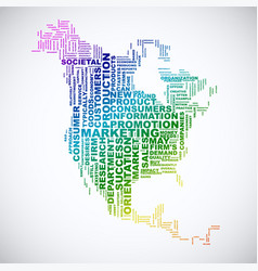 word cloud business concept north america map vector image