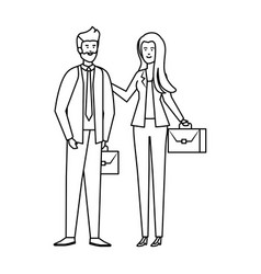 Young business couple with portfolio characters vector