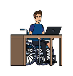 Young man in wheelchair working in office vector
