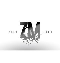 Zm z m pixel letter logo with digital shattered vector