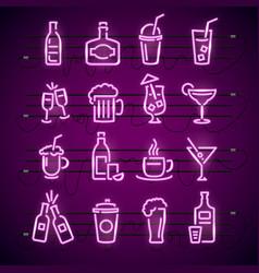 bar neon signs thin line icon set vector image