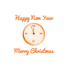christmas card with the clock in orange vector image vector image