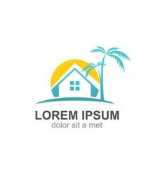 house tropic palm tree logo vector image