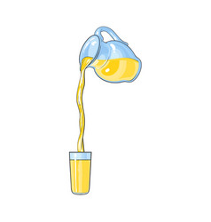 juice carafe with flowing into cup juice vector image