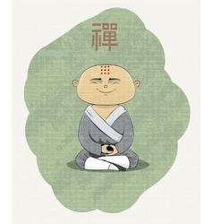 Meditating buddhist monk vector
