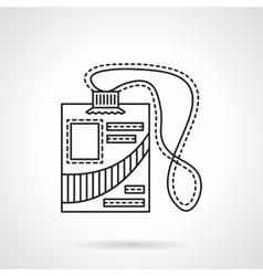Reporter id badge flat line icon vector image