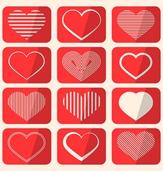Retro Hearts Set on Red Rounded Squares vector image