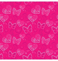 Romantic heart and butterfly seamless pattern vector image