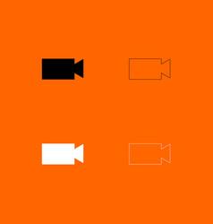 video camera black and white set icon vector image