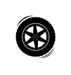Black tire wheel silhouette vector image