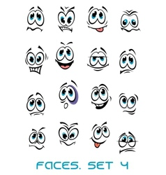 Cartoon faces set with many emotions vector image