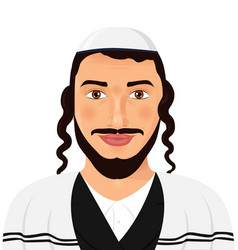 orthodox jewish man with hat in traditional suit vector image