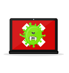 angry virus in the laptop computer vector image