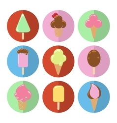 Colorful flat ice cream circle icons vector image vector image
