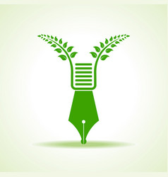 Eco pen with green leaf stock vector