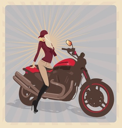 Girl with motorbike vector image