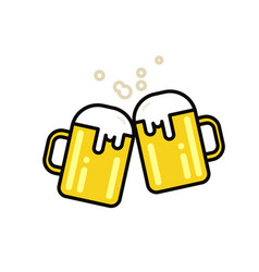 two mugs of beer flat line vector image