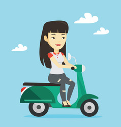 woman riding scooter vector image vector image