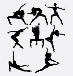 Beautiful dancer performing silhouette vector image