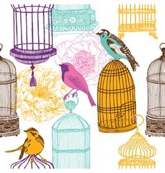 bird collage background vector image