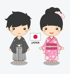 boy and girl in japanese costume vector image