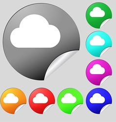 cloud icon sign Set of eight multi-colored round vector image vector image