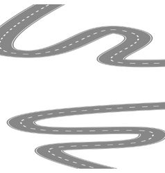 Curving winding road or highway with center vector image