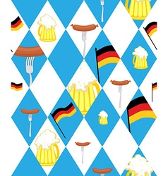 Oktoberfest background Mug of beer and sausage vector image vector image