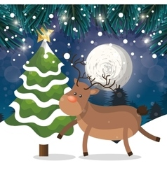 reindeer and tree snow landscape night with snow vector image