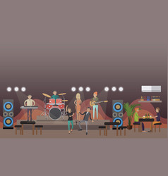 rock band concert in flat vector image