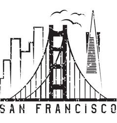 san francisco skyline grunge design template vector image