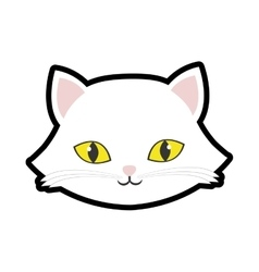 white cat kitty yellow eyes animal cute vector image