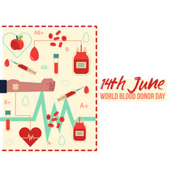 14th june donor blood day with vector image