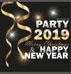 2019 new year black background with gold vector image