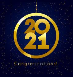 2021 seasons greetings gold card ball vector image