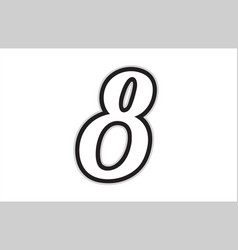 8 black and white number logo icon design vector image