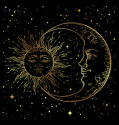 Antique style hand drawn art golden sun crescent vector