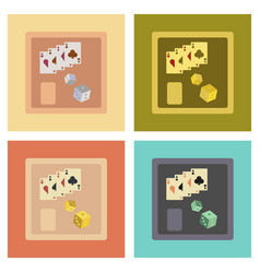 assembly flat icons poker board card chip vector image