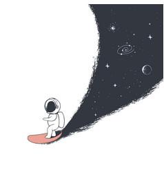Astronaut rides on surfboard vector