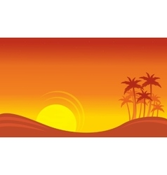 At sunset scenery on seaside with palm silhouettes vector