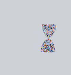 big crowd businesspeople in hourglass shape vector image