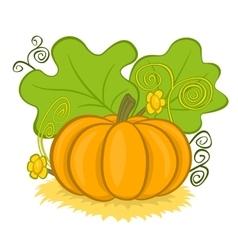 Big pumpkins on hay vector