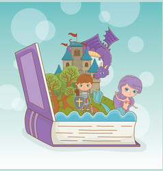 book open with fairytale dragon in castle vector image