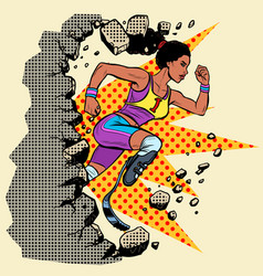 Breaks the wall disabled african woman runner with vector