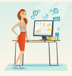 Business woman making presentation on computer vector