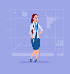 Business woman over abstract financial graphic vector