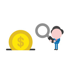 businessman holding magnifying glass with dollar vector image